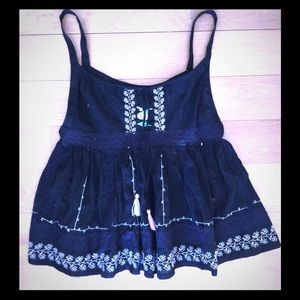 Vintage 90's Free People embroidered baby doll top